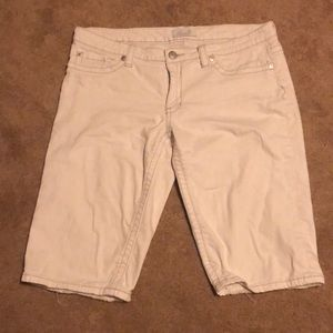 White denim low rider shorts slight distressing